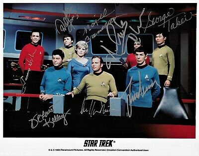 Star Trek TOS Original Series Full Cast Signed Photo Shatner Nimoy PSA/DNA