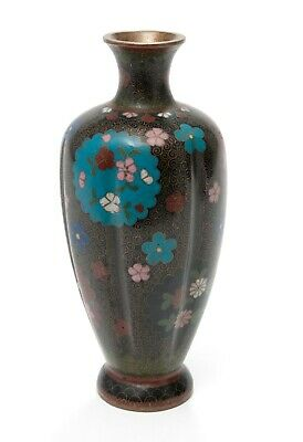 Antique Japanese Kyoto Design Cloisonne Enamel Vase with Floral Roundels