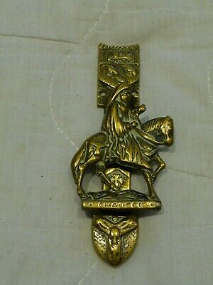 Vintage 1960s Small Brass Door Knocker Chaucer Canterbury Coat of Arms Hardware