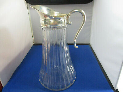 Vintage Glass Pitcher With Silver Plate Lid W/Handle & Ice Lip 11""
