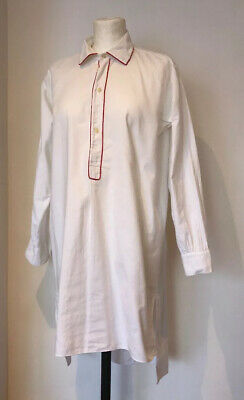 Vintage 1950s Mens French White Nightshirt With Red Trim