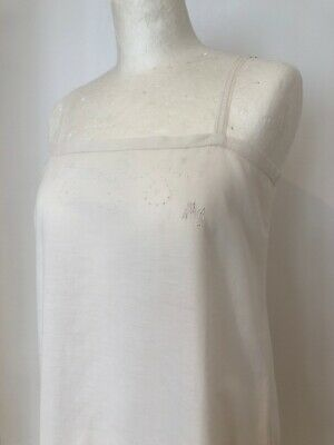 Vintage French Fine Lawn White Slip Nightdress Monogramed