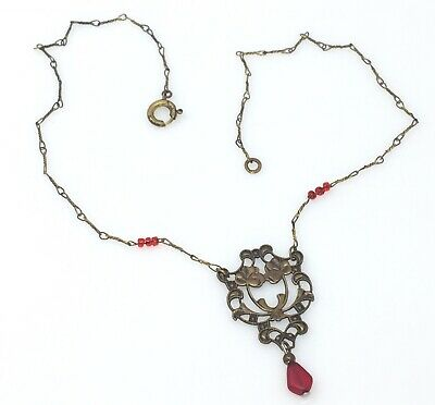 Dainty Antique ART NOUVEAU Red Glass and Brass GERMANY NECKLACE fine chain
