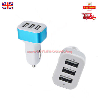 1pc Car Charger 5W USB 3 in 1 Triple Socket Lighter For Samsung Ipad Iphone i