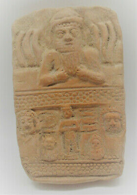 Circa 3000Bc Ancient Near Eastern Clay Panel Scene Of Worshippers Very Rare