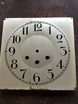 """Antique  Metal Clock Dial- 8-5/8""""  Square With Backing Mounting Plate"""