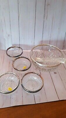 Vtg Leonard Salad Bowl  4 serving bowls Cut Crystal Silver Plated Rim Italy 9""