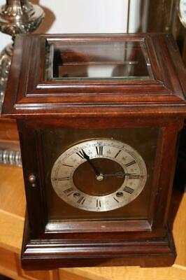 W&H CHIMING CRYSTAL REGULATOR MANTEL CLOCK mahogany case with five glazed sides