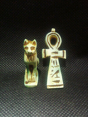 EGYPTIAN ANTIQUE ANTIQUITIES 2 Amulet Amuletic Figure Pendant 1549-1124 BC