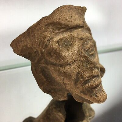 Ancient Pre-Columbian Aztec Inca Maya Pottery Fragment Terra Cotta Face Man