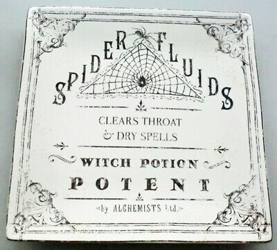 """222 Fifth Hallow Apothecary Halloween 8"""" Square Black White Dish Spider & Web"""