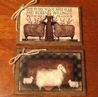 5 Handcrafted Wood Hang Tags/ORNIES/Ornaments PRIM AMERICANA/SHEEP SETw