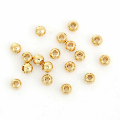 Beads - 4mm - 304 S/Steel Gold Plated Round Spacer - Hole 1.6mm - 5 Pcs