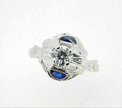 Art Deco 18k White Gold Diamond and Sapphire Ring (#J5057)