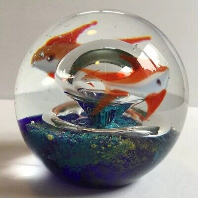 Glass Aquarium Paperweight Orange White Fish Goldfish Controlled Bubbles Ring