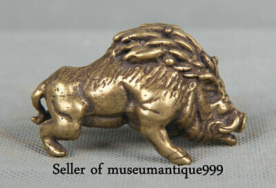 """2.2"""" Old Chinese Bronze Copper Feng Shui Pig wild boar Animal Statue Sculpture"""