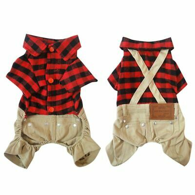 Pet Dog Clothes Christmas Red Plaids Shirts Sweater with Khaki Overalls Jumpsuit