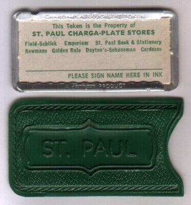 St Paul Charga-Plate Stores Credit Token (Emporium) Metal Charge Plate & Carrier
