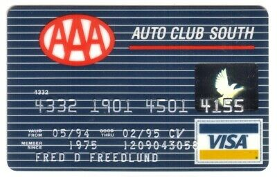 AAA Auto Club South: Bank One (Banc One Corporation) VISA Credit Card Exp 02/95
