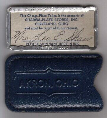 Charga-Plate Stores Credit Token of Cleveland Ohio: Metal Charge Plate & Carrier