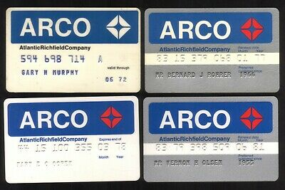 ARCO Oil Company Credit Cards: 1972 // 1981:  4 Different