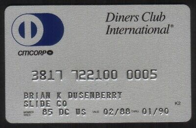 Diners Club International Credit Card Exp 01/90