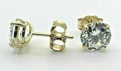 0.50 Ct Round Created Diamond Stud Earrings 14K Solid Yellow Gold Screw Back 4mm