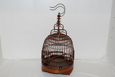Vintage Chinese Carved Bamboo Wood Bird Cage W/Porcelain Dishes/Feeders