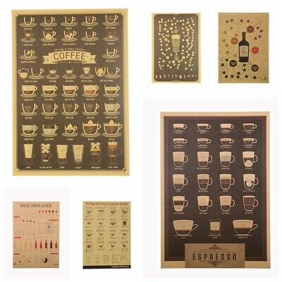 Coffee House Decor Retro Poster Vintage Picture Kraft Paper Wall Sticker