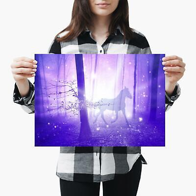 A3| Magical Horse Pony Forest Fiction Size A3 Poster Print Photo Art Gift #3951