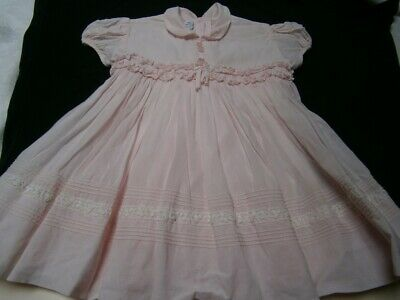Vintage 6Mths - 1 Year Pink Swiss Cotton Infin-Teen Girls Dress Fully Lined