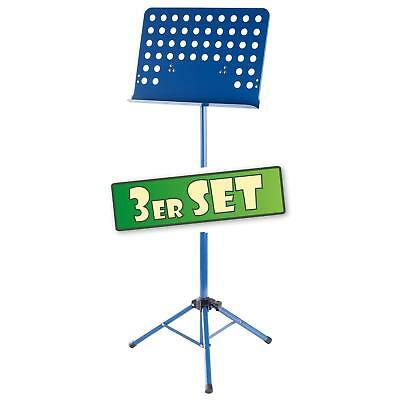 3x Atril Partituras de Musica Soporte Orquesta Plegable Metal Ajustable Azul Set