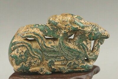 Chinese old natural jade hand-carved statue deer pendant 2.6 inch