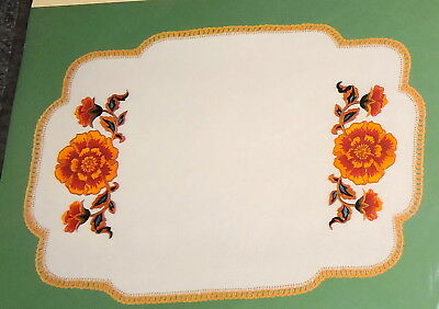 Linen Set 2 Doilies Marigold Flower Traced Stamped Transfer Printed To Embroider