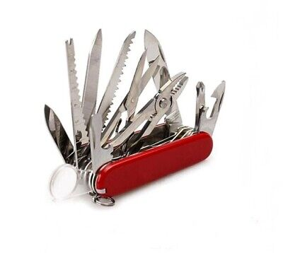 Red Pocket Army Knife Folding Multi Use Tool Camping Survival 31 Use Swiss USA