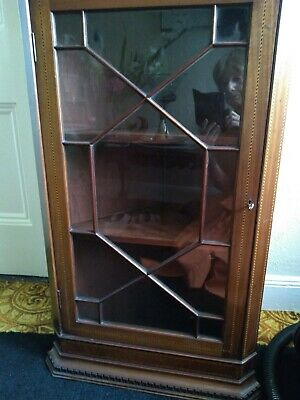 Edwardian Glass Door Corner Wall Cabinet Perfect Condition