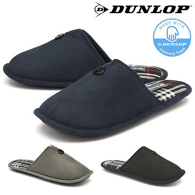 Dunlop Mens Slippers Slip On Travel Mule Faux Suede Comfy Memory Foam Sizes 7-12