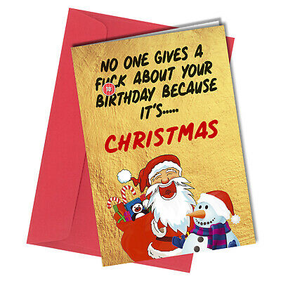 December Birthday Card RUDE FUNNY No One Gives a F*ck Christmas Card Cheeky 1203