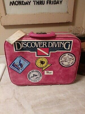 Vintage RARE Suitcase with Travel Stickers all Vintage sea diving case pink #1
