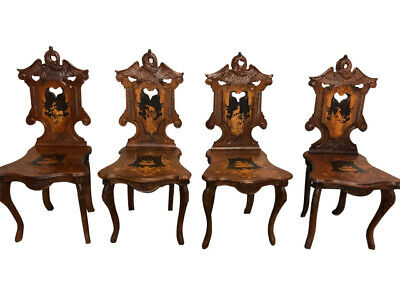 One Of A Kind Set Of Four French Black Forest Chairs, Carved Gargoyle Dragon, Tu