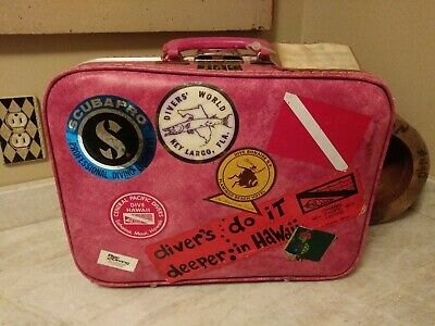 Vintage RARE Suitcase with Travel Stickers all Vintage sea diving case pink #2