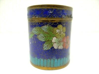 Old Blue Cloisonné Enamel Chinese Circular Round Floral Bronze Box Container