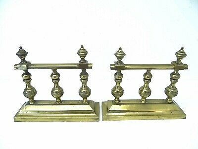 Antique Pair Old Federal Style Brass Metal Column Decorative Bookends Book Ends