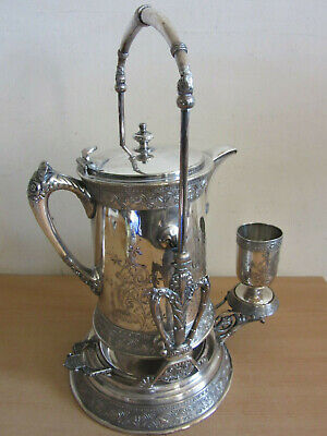 Antique Victorian Barbour Silverplate Ornate Tilting Hot water pitcher on stand