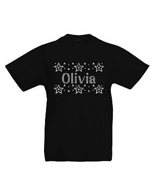 Girl's Star T-shirt Personalised Crystal Dance kids Gymnastic Varsany