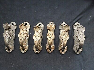 Six Vintage/ Ornate Antique Brass Hooks/ Curtain Ties?