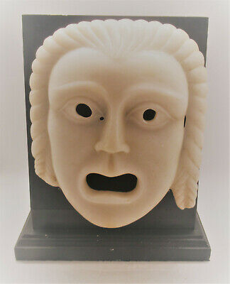 Superb Ancient Roman Near Eastern Marble Carved Theatrical Mask Circa 200-300Ad