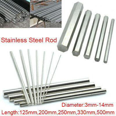 304 Stainless Steel Round Rod Hex Bar Metal Shaft 3mm-14mm Dia 125mm-500mm Long