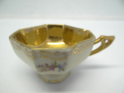 Antique Old Small Painted Gold Colored Decorative Porcelain Cup Crown Marking