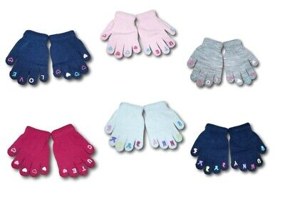 Baby Girl Toddler Children Kids Winter Autumn Acrylic ABS Gloves Size 1-3Years